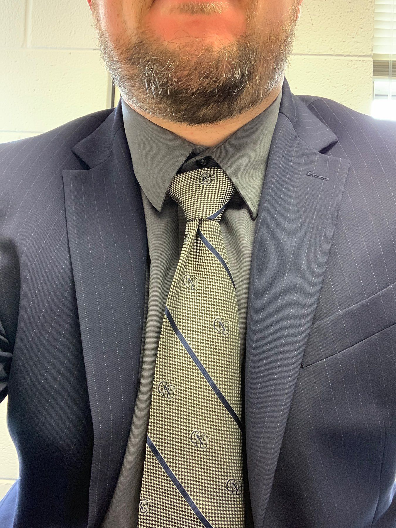 Bearded man, from chin down, in blue pinstripe suit with silver and blue neck tie